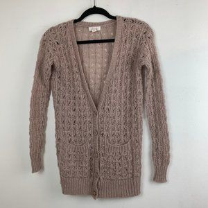 Pink Knit Cardigan w/ Two Front Pockets